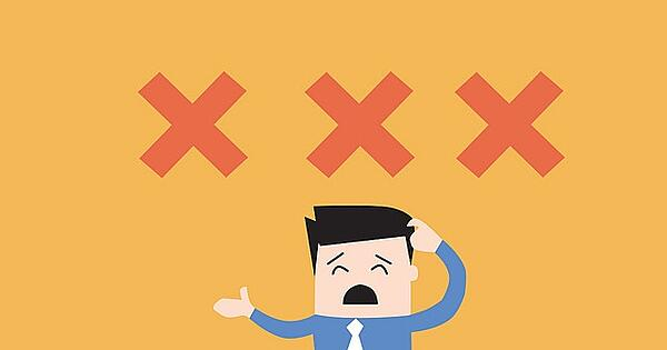 Man with three X's over his head (illustration).