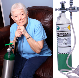Woman with oxygen tank