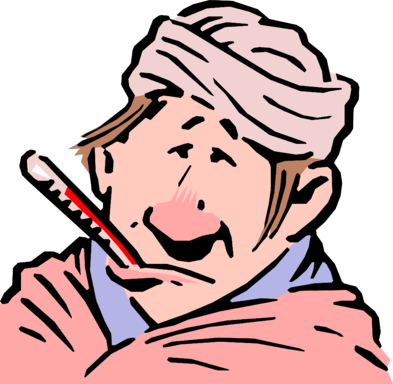 Sick Patient with Thermometer - Vector Image-1