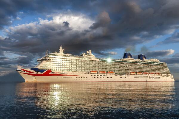 cruise ship on the open sea.