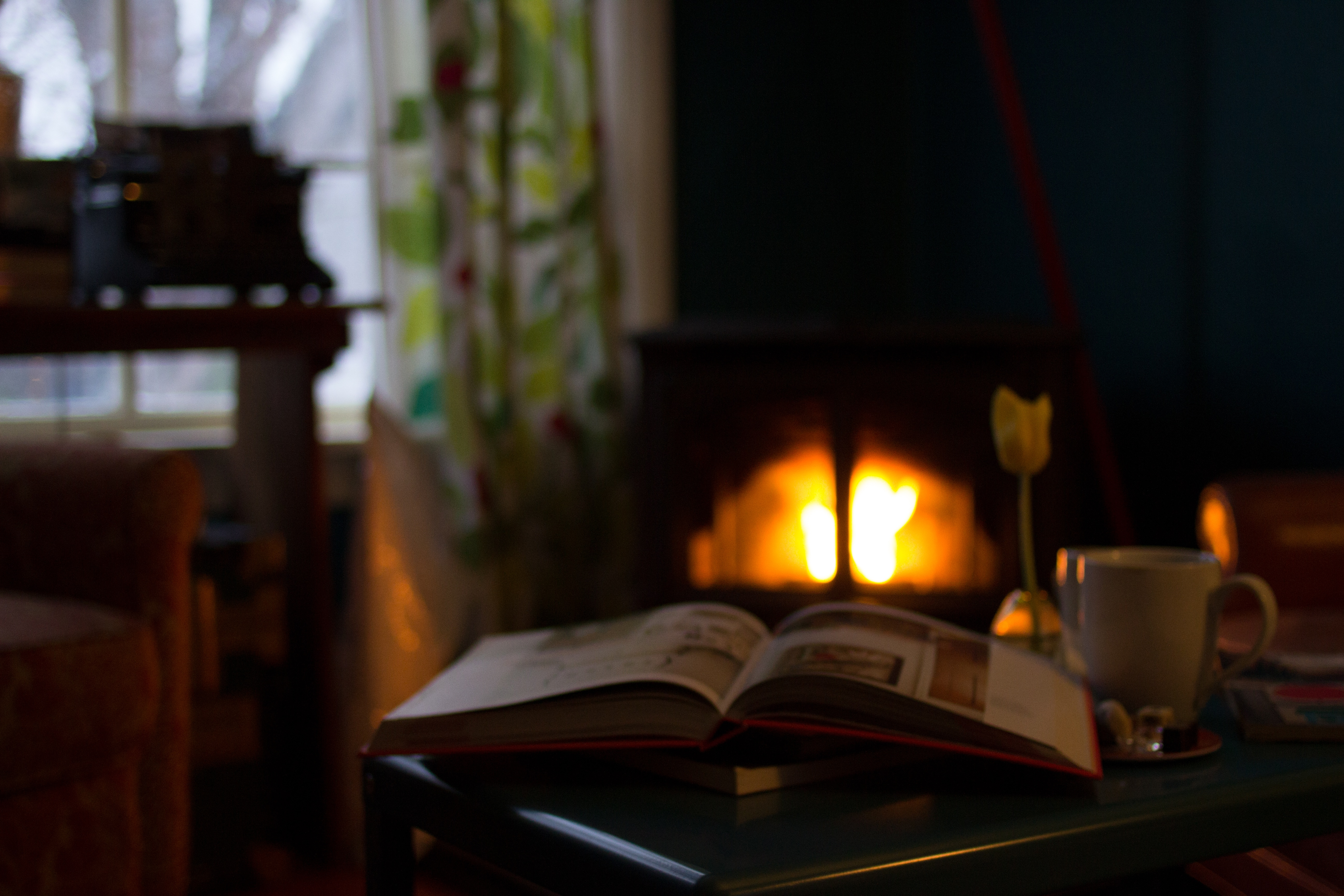 book in front of warm fireplace