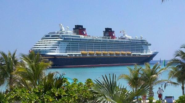 Cruise ship near an island.