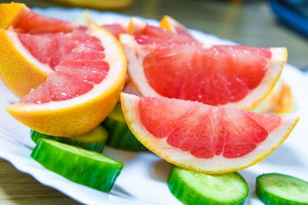 Grapefruit and cucumbers
