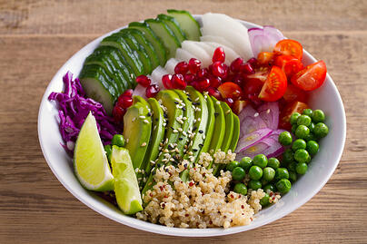 Bowl of healthy fruits and vegetables.