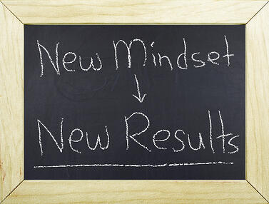 "Chalkboard that says ""new mindset, new results."""