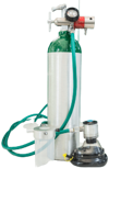 Portable oxygen tank with mask.