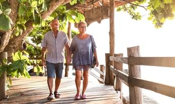 Woman and man walking