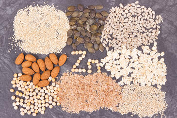 Variety of foods containing zinc.