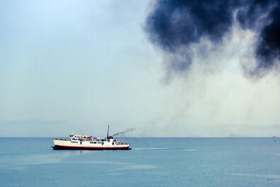 Pollution from a ship