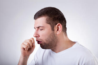 Coughing or shortness of breath may be a sign of low blood oxygen levels.