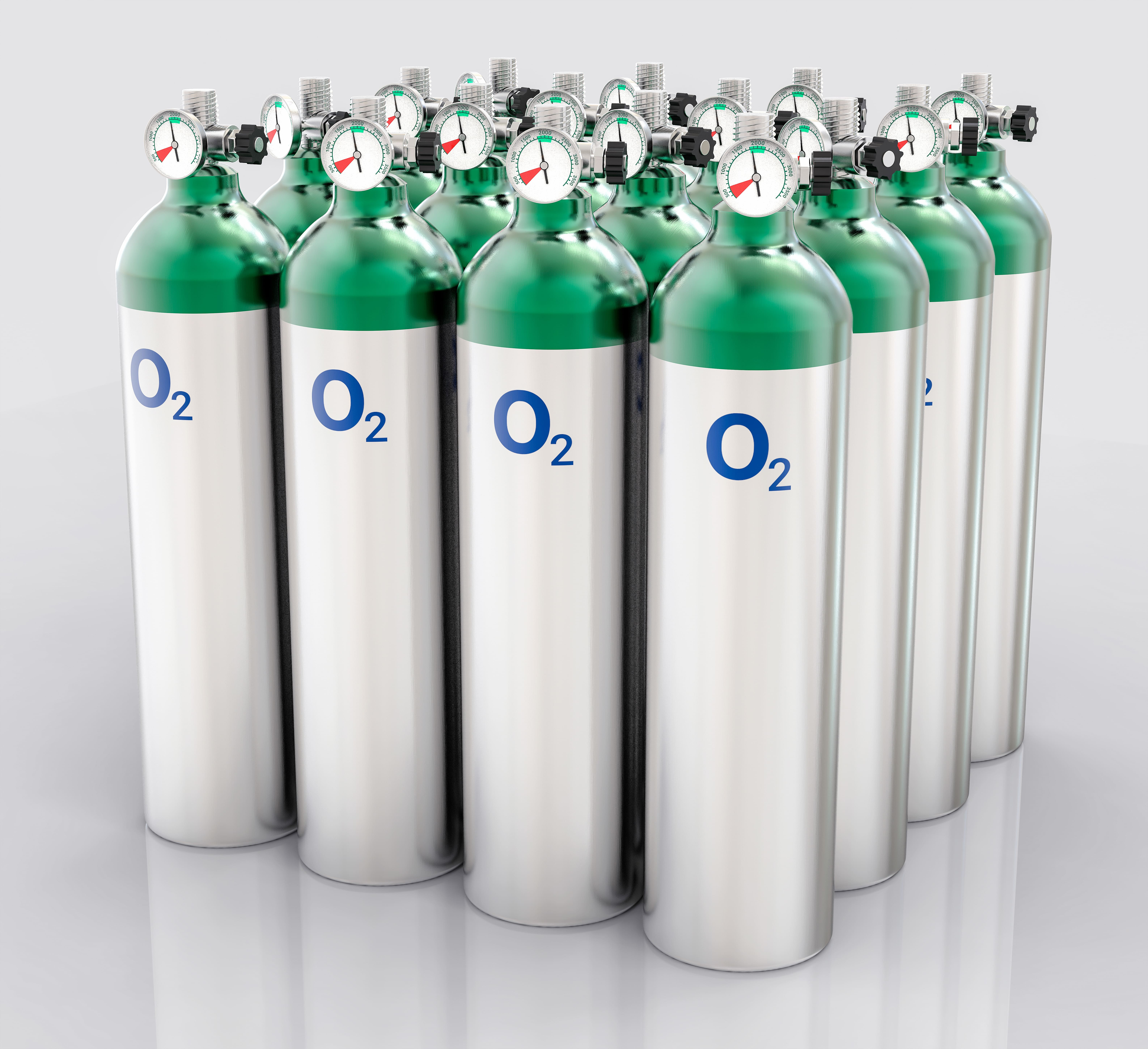 Set of oxygen tanks