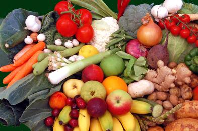 Variety of fruits and vegetables.
