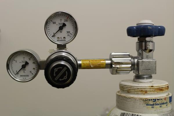 Oxygen gauge on an oxygen tank.