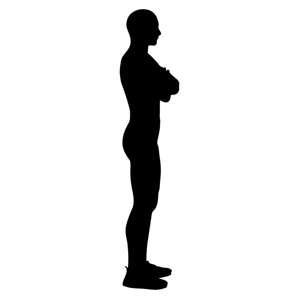 Silhouette of man standing with arms crossed.