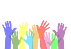People raising their hands