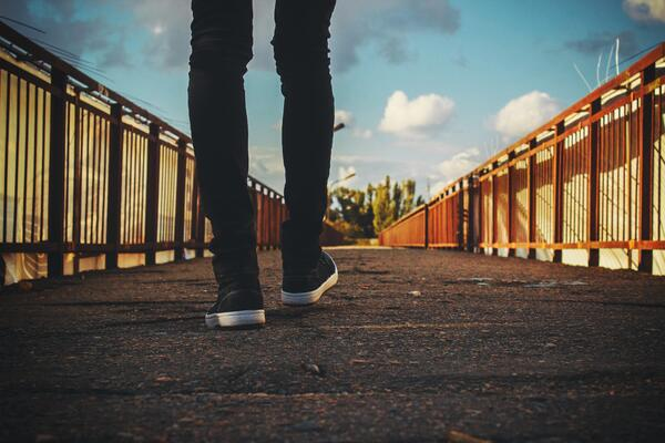 Walking on a bridge