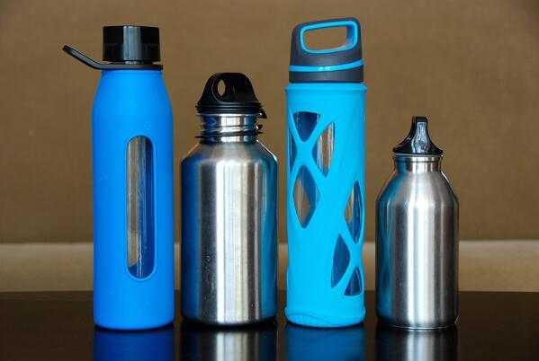 Plastic and aluminum water bottles.