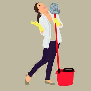 Woman singing while cleaning (illustration).