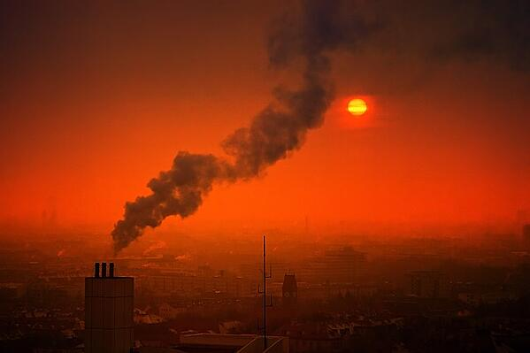 Air pollution and smog at sunset.